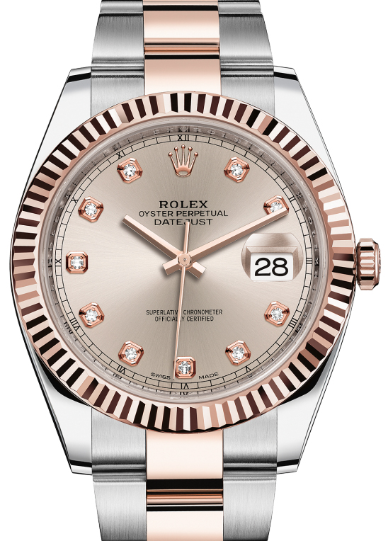 126331 Sundust set with diamonds Oyster Bracelet Rolex Rolesor Everose New 2016 Datejust