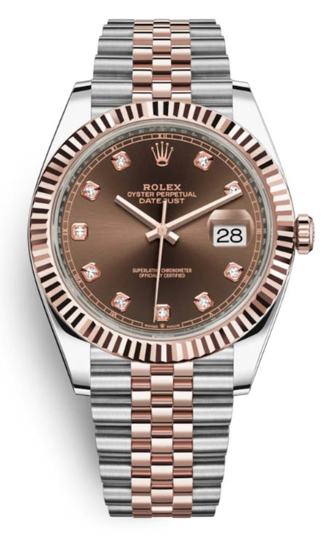 Rolex 126331 Chocolate set with diamonds Jubilee Bracele Datejust 41 mm Rolesor Everose New 2016 - фото 1