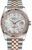 Rolex Datejust 116231 White mother-of-pearl set with diamonds JB 36 Everose Rolesor Fluted Bezel Jubilee Bracelet