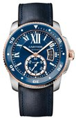Cartier Часы Cartier Calibre de Cartier Diver Blue Stainless Steel Pink Gold Brushed Polished