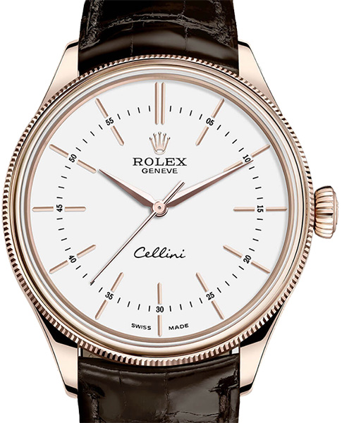 50505 white lacquer dial Rolex Time Everose Gold Cellini