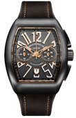 Franck Muller Vanguard V45 CC DT TT NR BR 5N Chronograph Titanium Brown Leather Strap