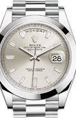 Rolex Day-Date 228206 Silver set with diamonds 40 mm Platinum