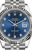 Rolex Datejust 126334 Blue Set With Diamonds 41 White Rolesor Jubilee