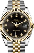 Rolex Datejust 126333 Black set with diamonds Jubilee Bracelet Yellow Rolesor New 2016