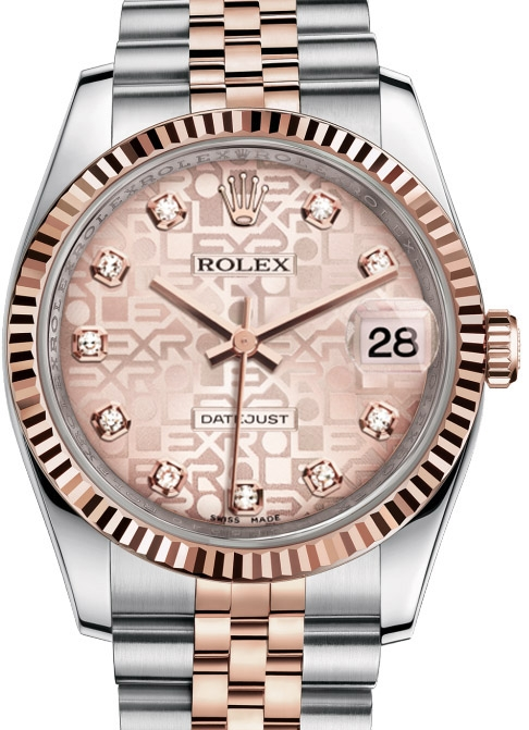 116231 pink Jubilee diamond dial Jubilee Rolex Steel and Pink Gold Fluted Bezel Datejust