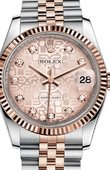 Rolex Datejust 116231 pink Jubilee diamond dial Jubilee Steel and Pink Gold Fluted Bezel
