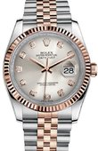 Rolex Datejust 116231 silver diamond dial Jubilee Steel and Gold Pink Gold - Fluted Bezel