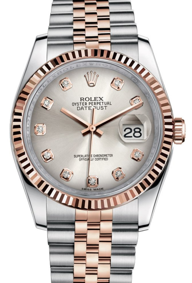 116231 silver diamond dial Jubilee Rolex Steel and Gold Pink Gold - Fluted Bezel Datejust