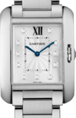Cartier Tank W4TA0004 Anglaise Medium Model Steel Diamonds