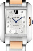 Cartier Tank WT100034 Anglaise Large Model Pink Gold Steel Diamonds
