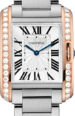 Cartier Tank W3TA0003 Anglaise Medium Pink Gold Steel Diamonds