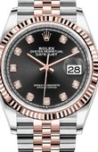 Rolex Datejust 126231 Black set with diamonds Jubilee Everose Rolesor Fluted Bezel Jubilee Bracelet