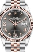 Rolex Datejust 126231 Dark rhodium set with diamonds Everose Rolesor Fluted Bezel Jubilee Bracelet