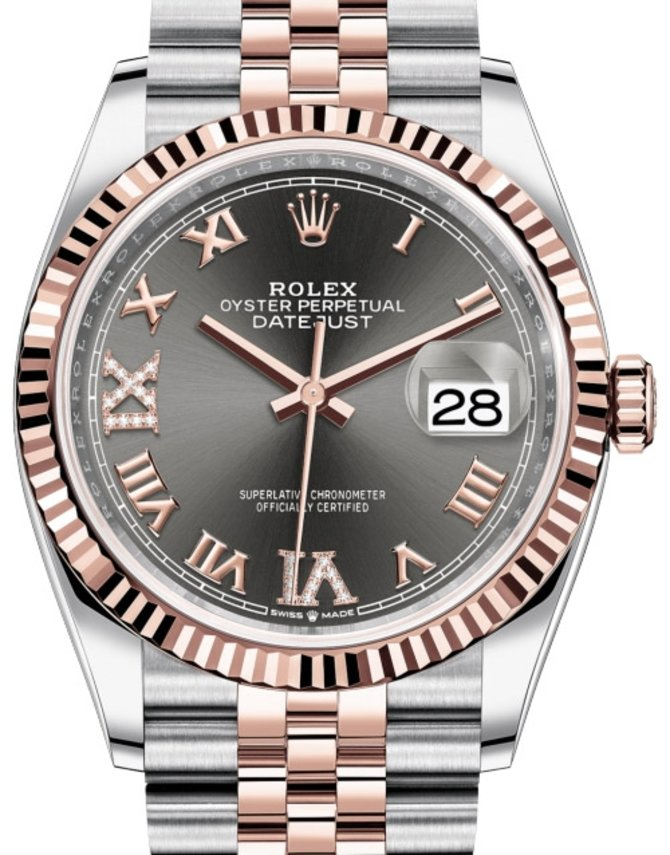 Rolex 126231 Dark rhodium set with diamonds Datejust Everose Rolesor Fluted Bezel Jubilee Bracelet