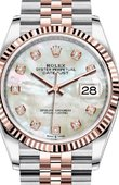 Rolex Datejust 126231 White mother-of-pearl set with diamonds Everose Rolesor Fluted Bezel Jubilee Bracelet