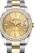 Rolex Datejust 126283rbr-0002 36mm Steel and Yellow Gold