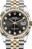 Rolex Datejust Ladies 126233 Black set with diamonds Jubilee Yellow Rolesor Fluted Bezel Jubilee Bracelet