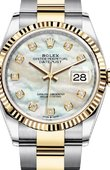 Rolex Datejust Ladies 126233 White mother-of-pearl set with diamonds Yellow Rolesor Fluted Bezel Oyster Bracelet