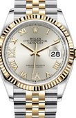 Rolex Datejust Ladies 126233 Silver set with diamonds Jubilee Yellow Rolesor Fluted Bezel Jubilee Bracelet