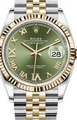 Rolex Datejust Ladies 126233 Olive green set with diamonds Jubilee Yellow Rolesor Fluted Bezel Jubilee Bracelet