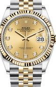 Rolex Datejust Ladies 126233 Champagne-colour set with diamonds Jubilee Yellow Rolesor Fluted Bezel Jubilee Bracelet