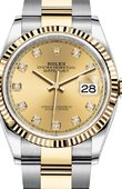 Rolex Datejust Ladies 126233 Champagne-colour set with diamonds Yellow Rolesor Fluted Bezel Oyster Bracelet