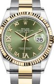 Rolex Datejust Ladies 126233 Olive green set with diamonds Yellow Rolesor Fluted Bezel Oyster Bracelet