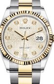 Rolex Datejust Ladies 126233 Silver Jubilee design set with diamonds Yellow Rolesor Fluted Bezel Oyster Bracelet