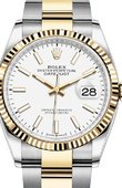 Rolex Datejust Ladies 126233 White Index Chromalight Yellow Rolesor Fluted Bezel Oyster Bracelet