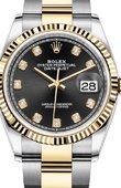 Rolex Datejust Ladies 126233 Black set with diamonds Yellow Rolesor Fluted Bezel Oyster Bracelet