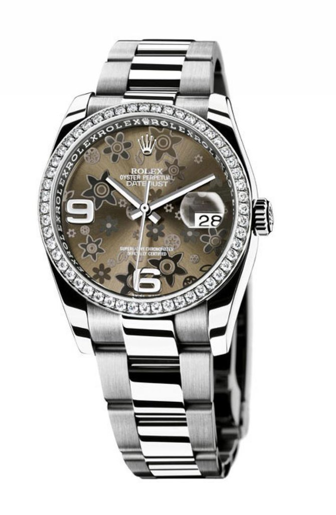 116244 bronz floral dial Oyster Rolex 36mm - WG Steel Diamond Bezel Datejust Ladies