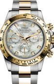 Rolex Daytona 116503 White mother-of-pearl set with diamonds Steel and YG