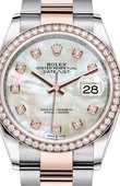 Rolex Datejust 126281RBR White mother-of-pearl set with diamonds Everose Rolesor Set with Diamonds Bezel Oyster Bracelet