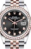 Rolex Datejust 126281RBR Black set with diamonds Everose Rolesor Set with Diamonds Bezel Jubilee Bracelet
