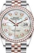 Rolex Datejust 126281RBR White mother-of-pearl set with diamonds Everose Rolesor Set with Diamonds Bezel Jubilee Bracelet