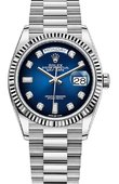 Rolex Day-Date 128239 Blue ombre set with diamonds White gold Fluted Bezel President Bracelet