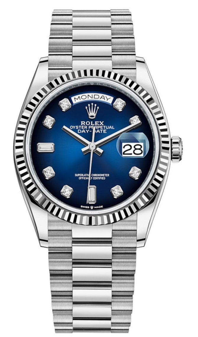Rolex 128239 Blue ombre set with diamonds Day-Date White gold Fluted Bezel President Bracelet