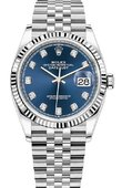 Rolex Datejust 126234 Blue set with diamonds White Rolesor Fluted Bezel Jubilee Bracelet