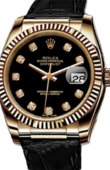 Rolex Datejust 116138 black diamonds Yellow Gold