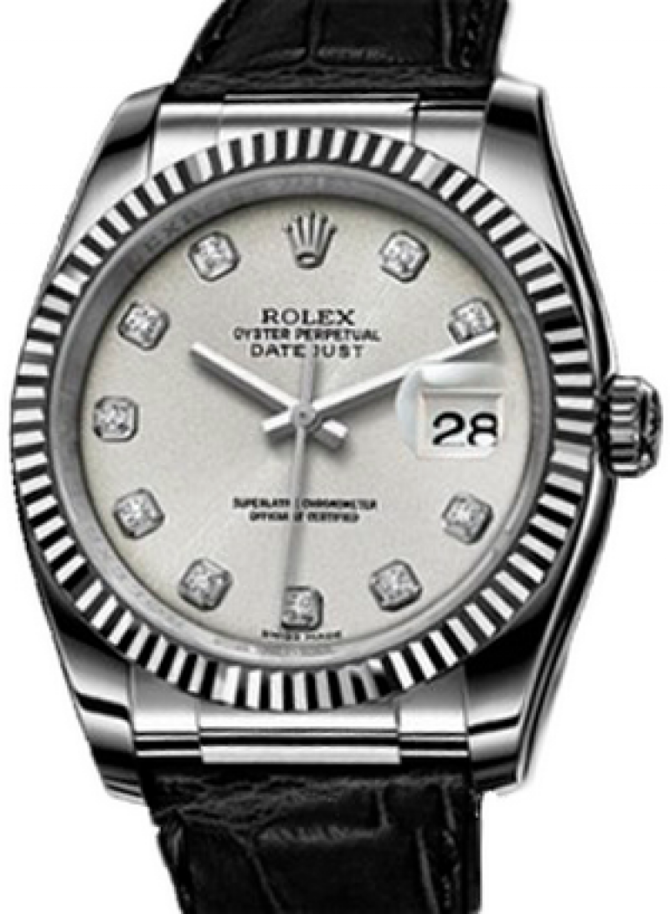 Rolex 116139 silver diamonds Datejust White Gold - фото 1
