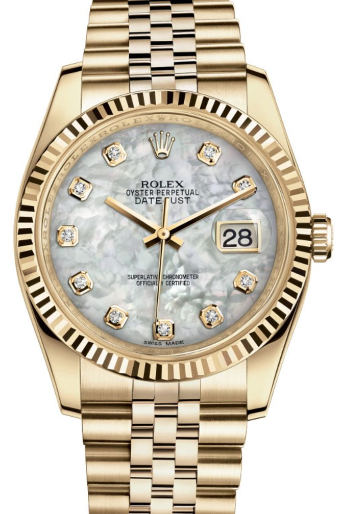 Rolex 116238 white mop diamonds Datejust Yellow Gold