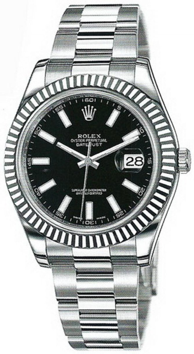 Rolex 116334 black Datejust Steel and White Gold - фото 1