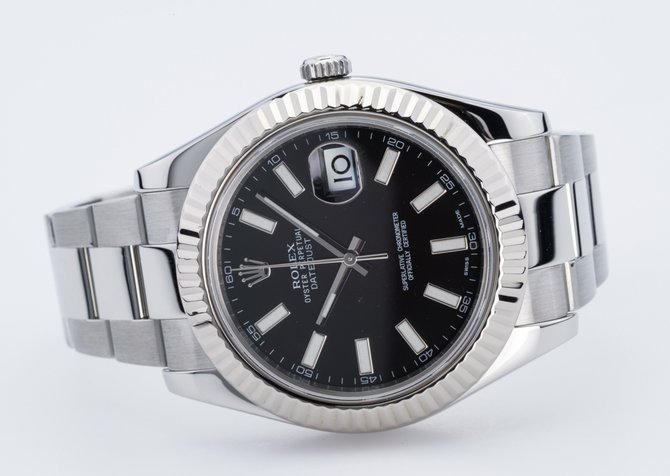 Rolex 116334 black Datejust Steel and White Gold - фото 12