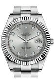 Rolex Datejust 116334 silver diamonds Steel and White Gold