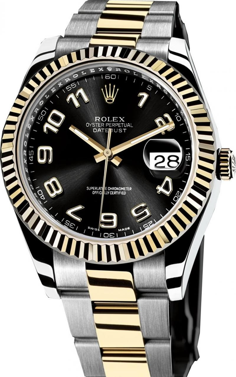 116333 black Rolex Steel and Yellow Gold Datejust