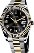 Rolex Datejust 116333 black Steel and Yellow Gold