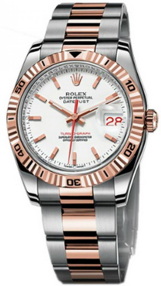 Rolex 116261 white Datejust Turn-O-Graph Steel and Everose Gold - фото 1