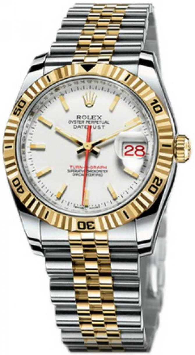 Rolex 116263 white Datejust Turn-O-Graph Steel and Yellow Gold - фото 1