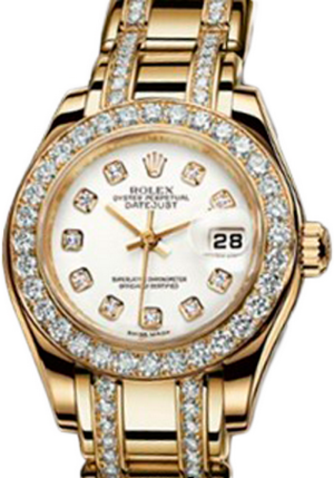 Rolex 80298 white mop d Datejust Ladies Pearlmaster Yellow Gold - фото 1